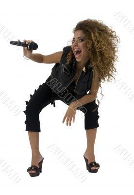female singer hits high tones