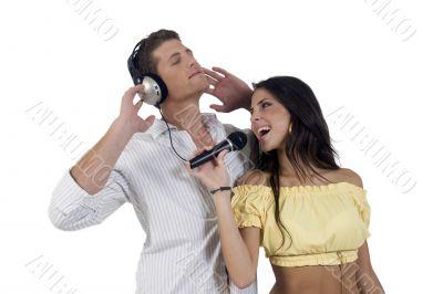 youth couple enjoying music