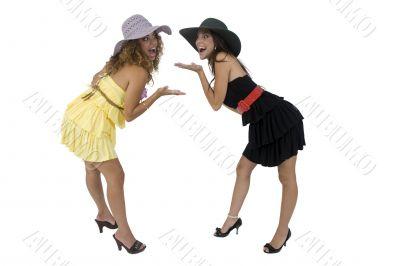 cheerful bending females