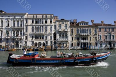 transport boat and buildings at grand canal