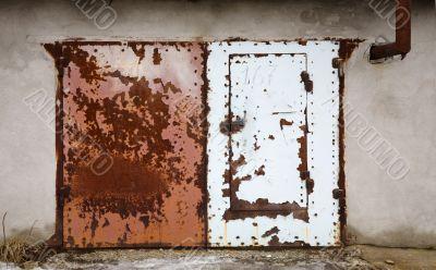 Old door of a garage