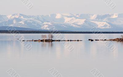 Stony island among lake