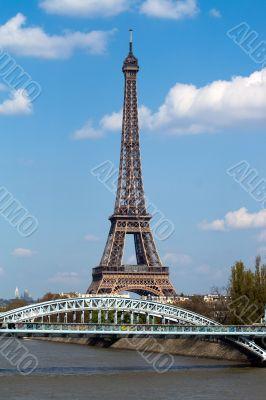 Eifel tower and railway bridge in Paris