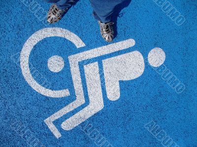 Logo for disabled  with valid person feet