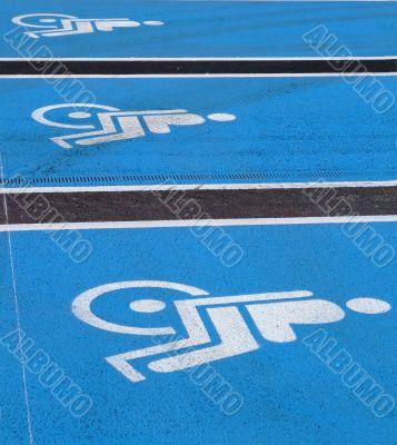 3 Logos for disabled on supermarket parking