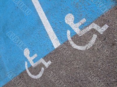 Lines and symbols  for disabled persons