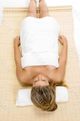 aerial view of relaxing lady