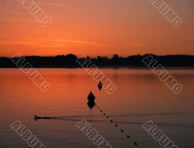 Beautiful sunrise at lake Chiemsee, Germany