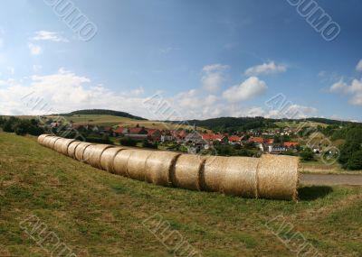 Haybales in a german landscape in Hesse