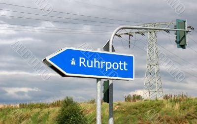 Autobahn direction sign Ruhrpott