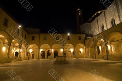 Ascoli Piceno - Illuminated cloister at night