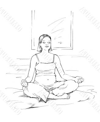 Pregnant woman in meditation