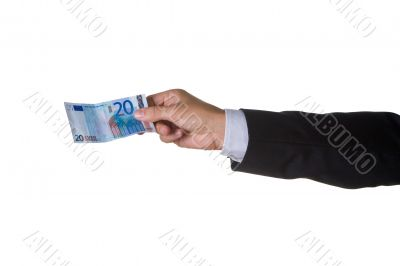 A business man with twenty euro in his hand