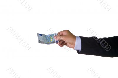 A business man with fifty euro in his hand