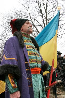 Old ukrainian Cossack with long gray whiskers