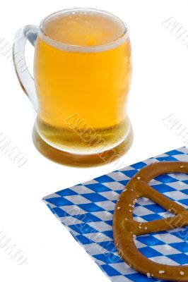Munich October celebration with beer and cracknel