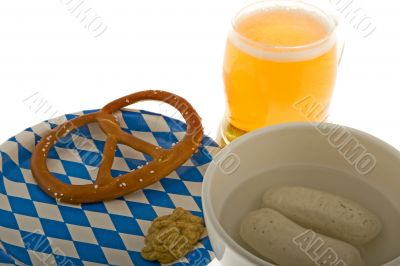 Munich October celebration with beer, cracknel and veal sausage