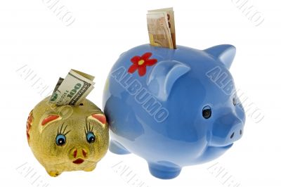 Piggy bank with dollar and euro