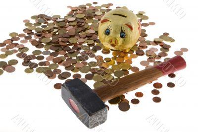 Hammer crush piggy bank