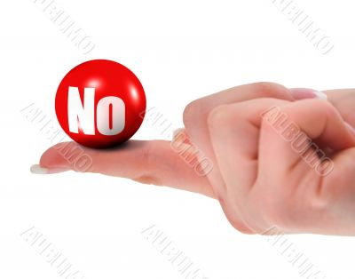 NO sign on finger