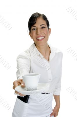 smiling waitress serving coffee