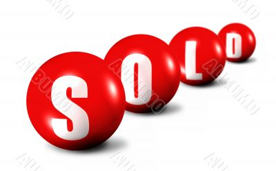 red Sold word made of spheres on white