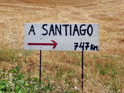 Sign on the way to Santiago