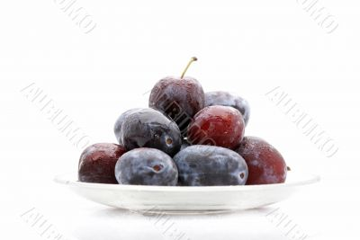 plums on dish