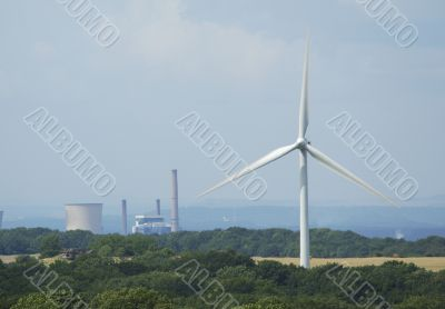 windturbine with coal electricity powerplants factory