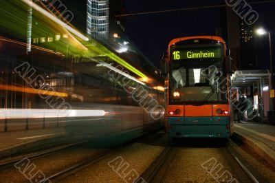 Two tramways in Frankfurt, Germany