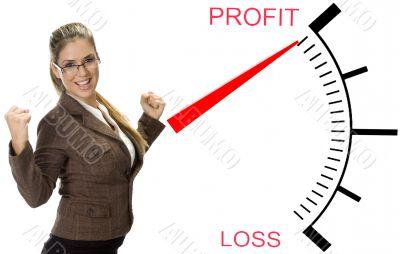 beautiful woman near profit loss meter