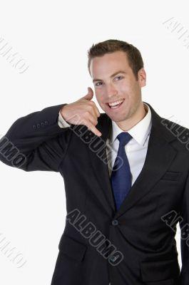 businessman posing calling hand gesture