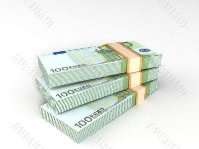 bundles of europian currency