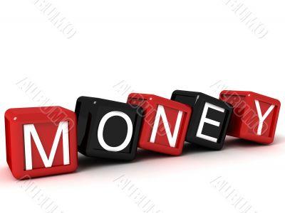 three dimensional money text on building blocks