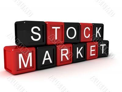 stock market text on building blocks