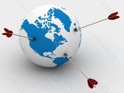Globe and arrows. 3D image. Isolated illustrations