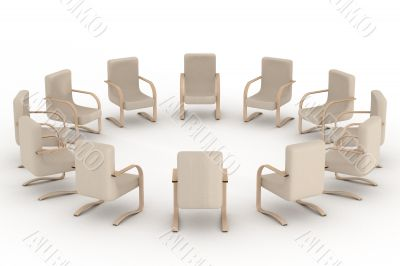 Twelve armchairs standing around. 3D image