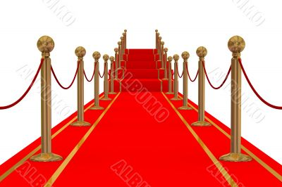 Red carpet path on a stair. 3D image.
