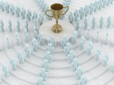 Group of people standing round cup. 3D image.