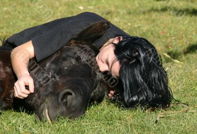 horse laid down and teen