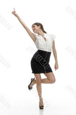 posing lady indicating upside
