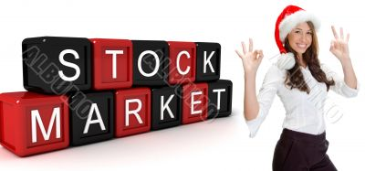 building blocks with stock market text and women