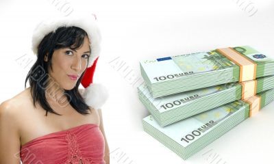 currency bundles and woman with santa hat