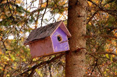 Purple wooden birdhouse
