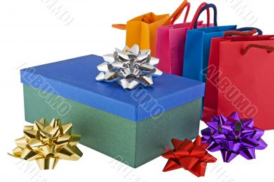 Christmas package with colored bags