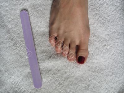female foot during a pedicure set up