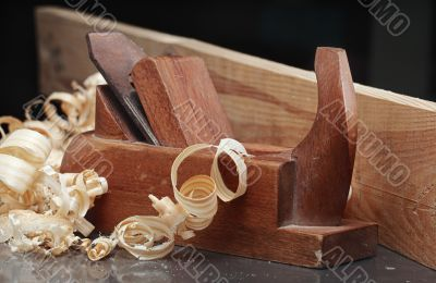shaving and wooden plane