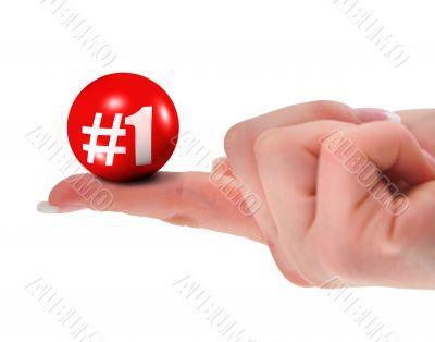 Number one sign on finger