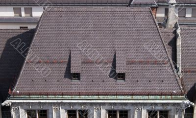 Roof of new Town Hall, Munich, Germany