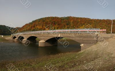 German Edersee with normally lost bridge Asel